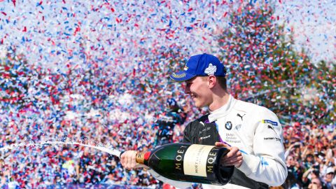 SANTIAGO, CHILE - JANUARY 18: Maximilian Günther of Germany for BMW i Andretti Motorsport team celebrates the victory after the E-Prix Antofagasta Minerals as part the third round of the ABB FIA Formula E Championship 2019/2020 on January 18, 2020 in Santiago, Chile. (Photo by ABB FIA Formula E/Handout /Getty Images)
