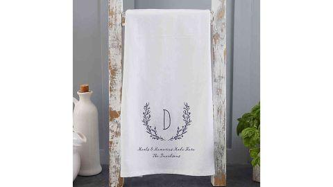 Personalized Farmhouse Floral Tea Towel