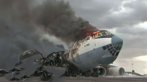 A photo described in a UN report on the Libyan arms embargo as showing a SkyAviaTrans plane blown up in Misrata in August 2019.