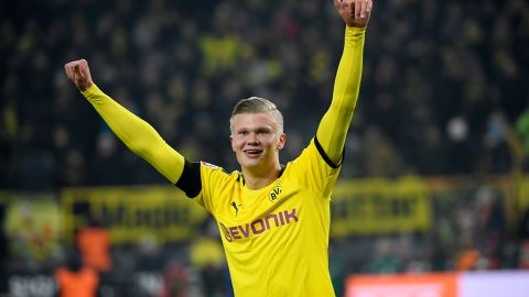 Dortmund's Norwegian forward Erling Braut Haaland celebrates scoring during the German first division Bundesliga football match Borussia Dortmund v FC Cologne in Dortmund, on January 24, 2020. (Photo by Ina FASSBENDER / AFP) / DFL REGULATIONS PROHIBIT ANY USE OF PHOTOGRAPHS AS IMAGE SEQUENCES AND/OR QUASI-VIDEO (Photo by INA FASSBENDER/AFP via Getty Images)