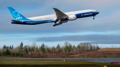 EVERETT, WA - JANUARY 25: A Boeing 777X airliner lifts off for its first flight at Paine Field on January 25, 2020 in Everett, Washington. The plane is the latest iteration of its popular wide body model, which feature more fuel efficient engines than its predecessor and composite wings. (Photo by Stephen Brashear/Getty Images)