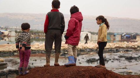 A screenshot of children at a camp in rebel-held Syria.