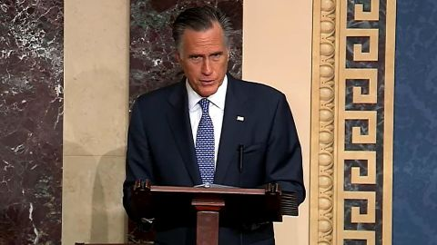 In this screengrab taken from a Senate Television webcast, Sen. Mitt Romney (R-UT) talks about how his faith guided his deliberations on the articles of impeachment during impeachment proceedings against U.S. President Donald Trump in the Senate at the U.S. Capitol on February 5, 2020 in Washington, DC. Senators will cast their final vote to convict or acquit later today. (