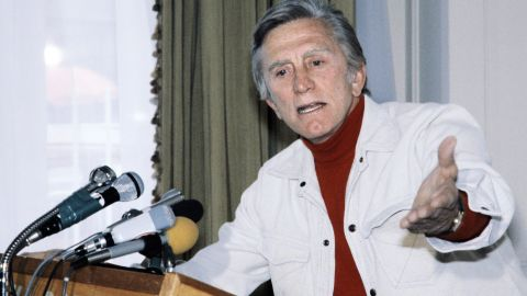 Douglas addresses reporters at the Cannes Film Festival, where he was president of the jury in 1980.