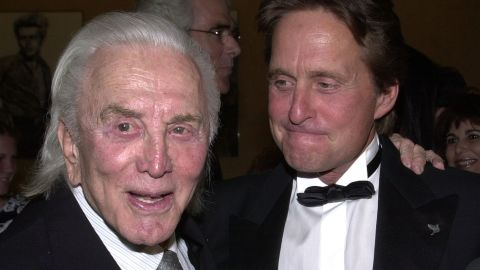 Kirk and Michael Douglas attend a Simon Wiesenthal Center dinner honoring the latter with its Humanitarian Award in 2001.