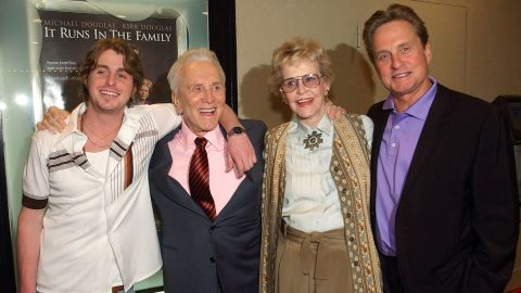 """Douglas appears with his first wife, Diana, son Michael and grandson Cameron Douglas at a special screening of """"It Runs in the Family"""" in Los Angeles. All four actors starred in the 2003 film."""