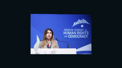 Iranian women's rights activist Shaparak Shajarizadeh receives the 2020 Geneva Summit International Women's Rights Award.