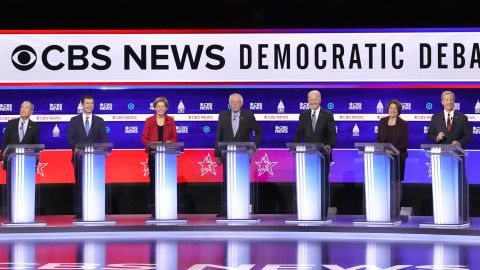 CHARLESTON, SOUTH CAROLINA - FEBRUARY 25: Democratic presidential candidates (L-R) former New York City Mayor Mike Bloomberg, former South Bend, Indiana Mayor Pete Buttigieg, Sen. Elizabeth Warren (D-MA), Sen. Bernie Sanders (I-VT), former Vice President Joe Biden, Sen. Amy Klobuchar (D-MN), and Tom Steyer participate in the Democratic presidential primary debate at the Charleston Gaillard Center on February 25, 2020 in Charleston, South Carolina. Seven candidates qualified for the debate, hosted by CBS News and Congressional Black Caucus Institute, ahead of South Carolina's primary in 4 days. (Photo by Win McNamee/Getty Images)