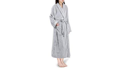 Pavilia Premium Women's Fleece Robe with Satin Trim