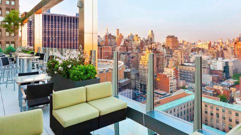 The Skyline Rooftop Bar & Lounge at the Marriott Fairfield Inn New York Midtown.
