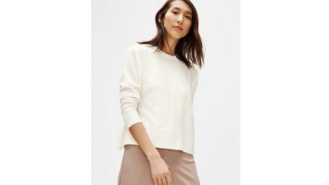Eileen Fisher Organic Linen Crepe Stretch Box Top