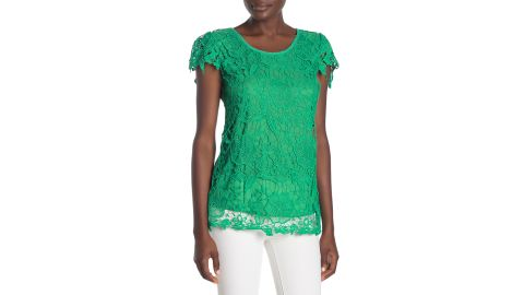 Forgotten Grace Floral Crochet Lace Knit Short Sleeve Blouse