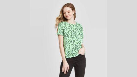 Fifth Sun Women's Animal Print Clover Short Sleeve Graphic T-Shirt