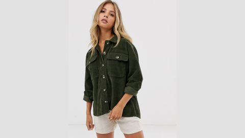Pieces Oversized Cord Shirt in Green
