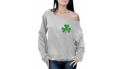 Awkward Styles St Patricks Sweater Irish Clover Pocket