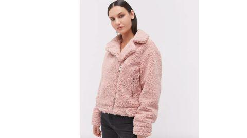 Urban Outfitters Clara Teddy Moto Jacket