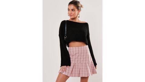 Missguided Pink Plaid Mini Skirt