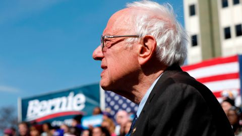 Sanders addresses supporters during a campaign rally in Grand Rapids, Michigan, in March 2020.