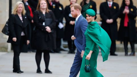 """Harry and Meghan attend the annual Commonwealth Day service at London's Westminster Abbey in March 2020. This marked the couple's <a href=""""https://www.cnn.com/2020/03/09/uk/harry-and-meghan-final-engagement-intl-scli-gbr/index.html"""" target=""""_blank"""">final engagement as senior members of the royal family.</a>"""