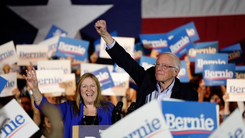 """A triumphant Sanders raises his fist in San Antonio after he was projected to win <a href=""""http://www.cnn.com/2020/02/21/politics/gallery/nevada-caucuses/index.html"""" target=""""_blank"""">the Nevada caucuses.</a>"""
