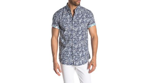 Report Collection Geometric Short Sleeve Slim Fit Shirt