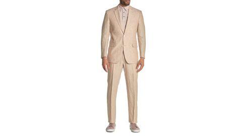 Tommy Hilfiger Light Tan Solid Two Button Notch Lapel Linen Suit