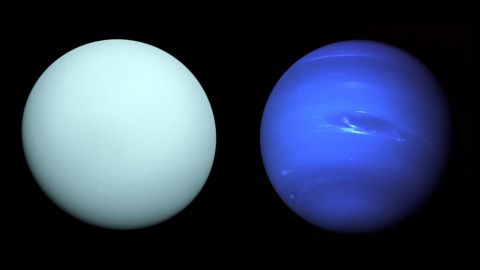 Left: Arriving at Uranus in 1986, Voyager 2 observed a bluish orb with subtle features. A haze layer hid most of the planet's cloud features from view. Right: This image of Neptune was produced from Voyager 2 and shows the Great Dark Spot and its companion bright smudge. Credits: Left: NASA/JPL-Caltech - Right: NASA