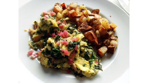 Scrambled Eggs With Smoked Trout, Pickled Onions and Kale
