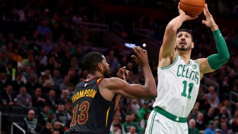 BOSTON, MASSACHUSETTS - DECEMBER 09: Enes Kanter #11 of the Boston Celtics takes a shot over Tristan Thompson #13 of the Cleveland Cavaliers during the first half at TD Garden on December 09, 2019 in Boston, Massachusetts. (Photo by Maddie Meyer/Getty Images)