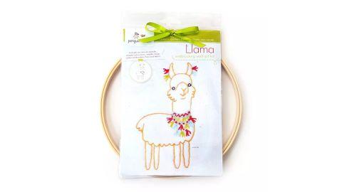Penguin & Fish Llama Embroidery Wall Art Kit