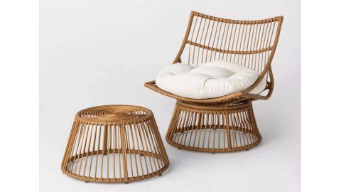 Opalhouse Borealis 2-Piece Patio Papasan Chair and Ottoman Set
