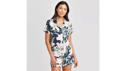 Stars Above Blue Floral Print Beautifully Soft Notch Collar Pajama Set