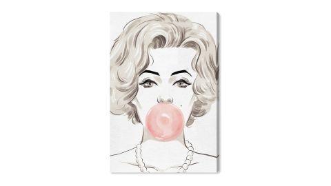 "Oliver Gal ""Bubblegum Beauty"" Canvas Wall Art"