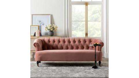 """Ash Rose Velvet Velvet 81"""" Rolled Arm Sofa"""
