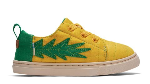 Toms Gold Pineapple Quilted Tiny TOMS Lenny Elastic Sneakers