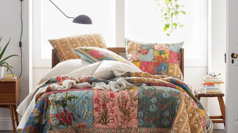 The Company Store Rani Multicolored Vintage Floral Reversible Patchwork Quilt