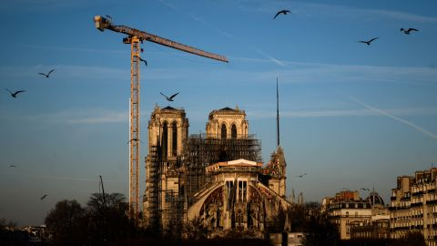 Notre Dame Cathedral is seen undergoing renovations on January 6.