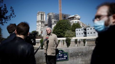 French Army General Jean-Louis Georgelin, head of Notre Dame Cathedral's reconstruction, speaks to journalists in Paris on April 14. Work at the Paris site has been suspended since March 16, when France introduced widespread measures to help control the spread of Covid-19.