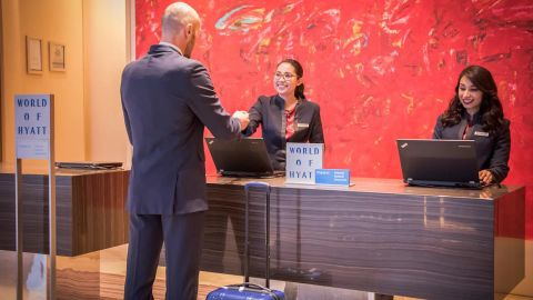 Get access to the elite check-in line at Hyatt hotels worldwide with the World of Hyatt Business credit card.