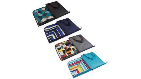 Picnic Time Vista Outdoor Picnic Blanket in Aqua Blue with Fun Stripes