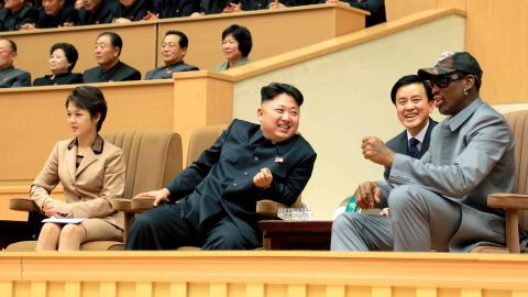 """In January 2014, Kim hosted basketball legend Dennis Rodman and other former NBA players who were taking on North Koreans in an exhibition game. Kim grew up a massive basketball fan, and he and Rodman struck up a friendship. This was Rodman's fourth visit to North Korea, and he called <a href=""""https://www.cnn.com/2014/01/08/world/gallery/rodman-north-korea-basketball-game/index.html"""" target=""""_blank"""">the game</a> """"basketball diplomacy."""""""