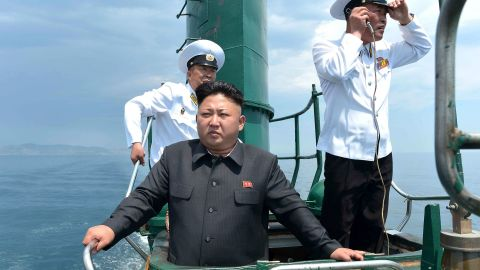 Kim inspects a submarine in this undated photo released by North Korea's state-run news agency in June 2014.