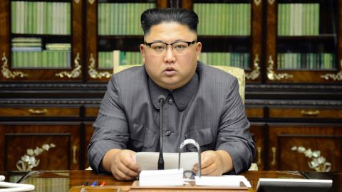 """In this September 2017 photo distributed by the North Korean government, Kim delivers a televised statement and accuses US President Donald Trump of being """"mentally deranged.""""<a href=""""https://www.cnn.com/2017/09/21/politics/kim-jong-un-on-trump-comments/index.html"""" target=""""_blank"""">Kim's forceful rhetoric</a>came after Trump's tough talk at the UN General Assembly. Trump said the United States was ready to """"totally destroy"""" North Korea if it was forced to defend its allies. Kim said Trump would """"pay dearly"""" for the threats: """"I will surely and definitely tame the mentallyderanged US dotard with fire."""""""