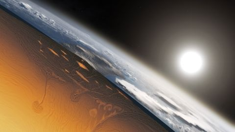 This is an artist's illustration showing a cross-section of Earth's forming crust approximately 3 to 4 billion years ago.