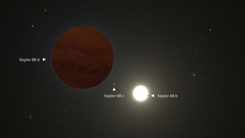 This is an artist's illustration of the Kepler-88 planetary system, where one giant exoplanet and two smaller planets orbit the Kepler-88 star. The system is more than 1,200 light-years away.