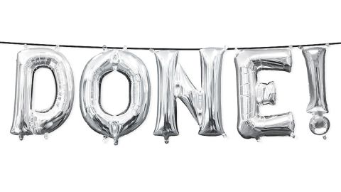 Air-Filled Silver Done Letter Balloon Kit