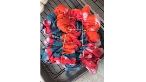 Olivia Horan's scrunch-style tie-dye, set with rubber bands