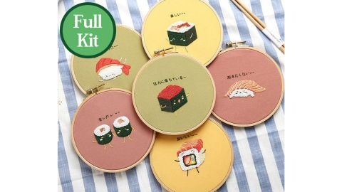 Sushi-Patterned Embroidery Kit