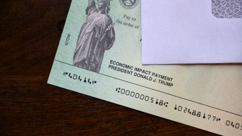 President Donald Trump's name appears on a stimulus check on May 3, 2020.