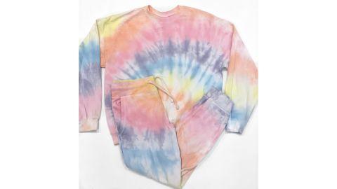 One of Jordan Baker's tie-dye sweatsuit creations